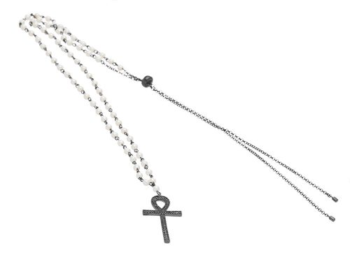 Colier Argint Cross Pearls