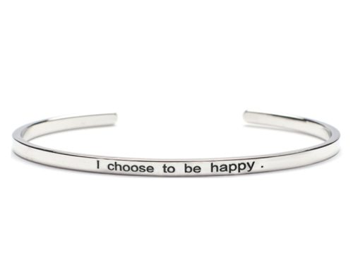 Bratara Argint 'I choose to be happy' - Argintiu