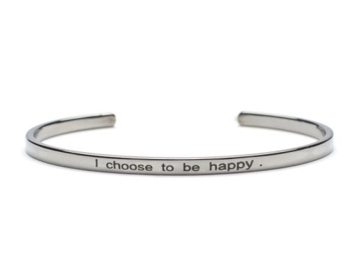Bratara Argint 'I choose to be happy' - Negru